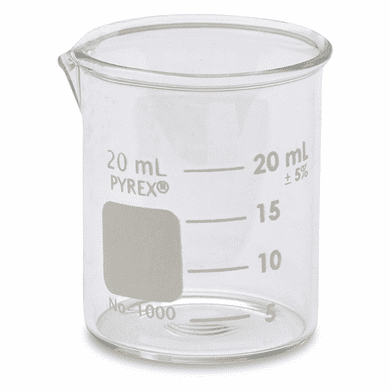 Corning Pyrex®  1000-20 20ml Griffin Low Form Glass Beaker