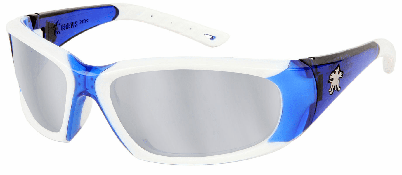 Crews, ForceFlex� Next Generation -Safety Glasses, Blue and White Frame, Silver Mirror Lens