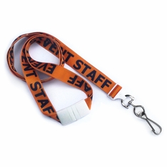 "Easily identify visitors w/5/8"" (16 mm) Flat Breakaway  Lanyard W/ Swivel Hook."