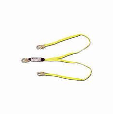 French Creek Production FC-440A 6' dual leg (100% tie-off), shock absorbing web lanyard w/pack, #74N locking snaps on every end.