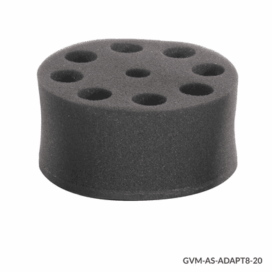 GS GVM-AS-ADAPT8-20 Tube Holder, Foam, for use w GVM Series 8 x 20mm Tubes, Must use w VM-AS-PLATE/GVM-AS-ROD
