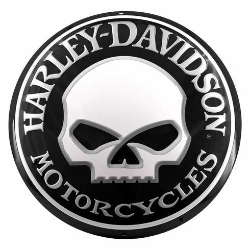 Harley Davidson 11021 Willy Skull Round Tin Sign