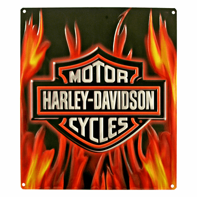 Harley Davidson 11291 Flame Logo Tin Sign