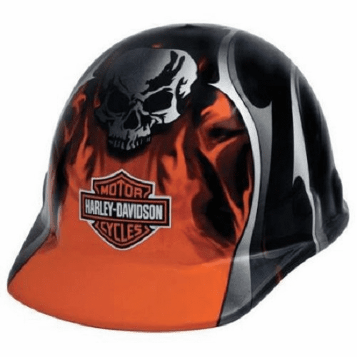 Harley Davidson HDHHAT30FM  Hard Hat With Skull And Flames 6 Pt Suspension Ratchet Style