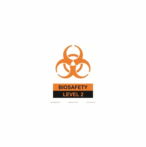 HCL, White/Orange/Black Biohazard Level II Sign