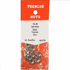 Hilman 491374H 1/4-20 Hex Jam Nuts  Zinc Plated Thin Fine Thread 10/Pack 5/Packs 50 Each.