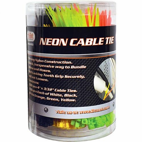 IIT 26280 500  Piece 4 Inch Neon Color Cable Ties