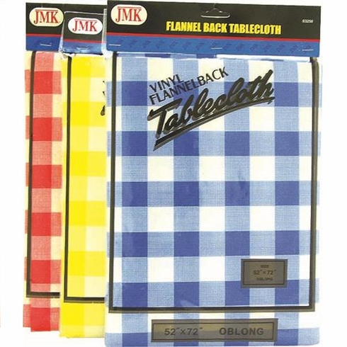 JMK 03250 Flannel Back Plaid Table Cloth