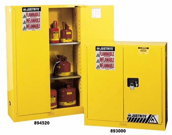Justrite 893000 Flammable Safety Cabinet, 30 Gallon, Manual Closing Doors, Yellow