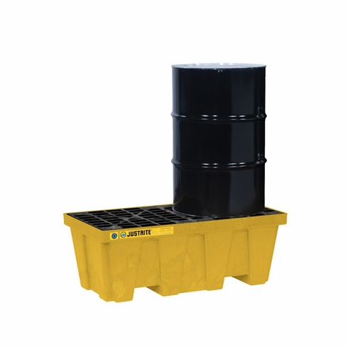 Justrite, EcoPolyBlend™ Spill Control Pallet, 2 drum, recycled polyethylene