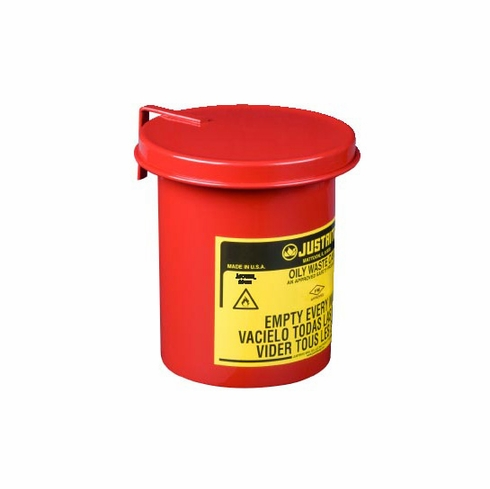 Justrite, Oily Waste Mini Bench Top Can for long cotton-tip applicators,  0.45 gallon (1.7L), SoundGard™ cover