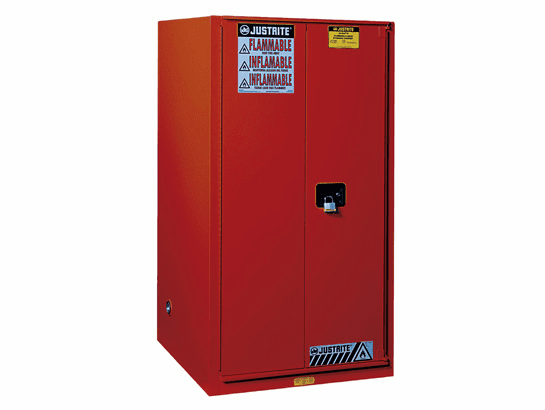 Justrite, Sure-Grip® EX Combustibles Safety Cabinet for paint and ink, Cap. 96 gal., 5 shelves, 2 s/c doors