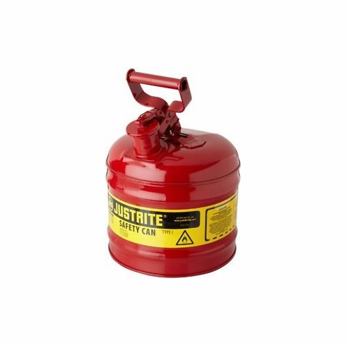 Justrite, TYPE 1 Steel Safety Can For Flammables 2 Gallon (7.5L), S/S Flame Arrestor Self-Close Lid