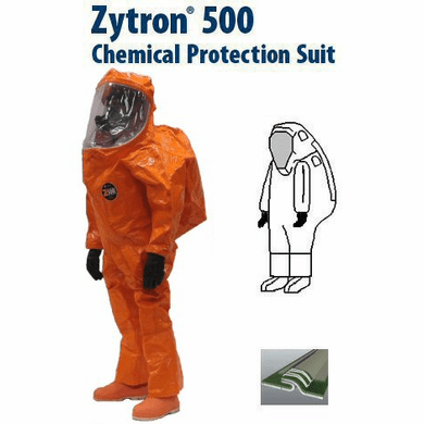 Kappler® Zytron® 500 Totally Encapsulating Level A Front Entry Expanded Back Suit with Butyl Outer Glove.