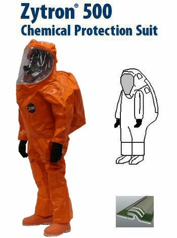 Kappler® Zytron® 500 Totally Encapsulating Level A Rear Entry Expanded Back Suit with 2n1™ Glove System - Faceshield 40 Mil. PVC and 5 Mil. Teflon Over-lay on Lens - CE Certified Type 1aET.