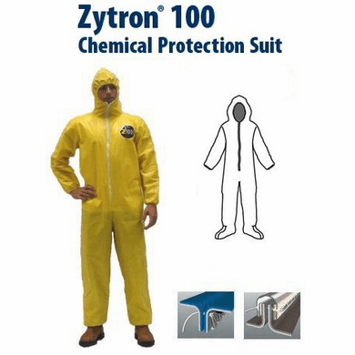 Kappler Zytron Z100 Coverall with Hood and Boots, Elastic Wrists.