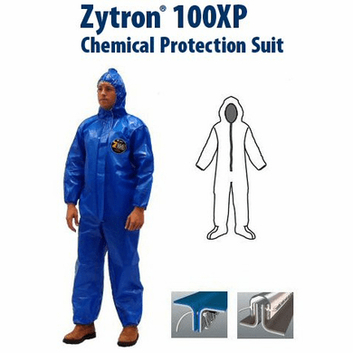 Kappler Zytron Z100XP Coverall with Hood and Boots, Elastic Wrists.