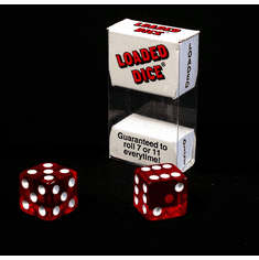 Koplow 03881 Loaded Koplow 03881 Loaded Trick Transparent Red Dice Set Mis-Spotted 2, 5, 6 Only Not Weighted