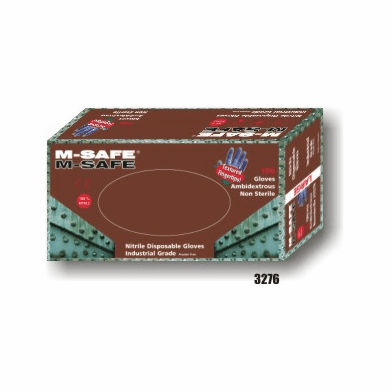 M-Safe, 3276 Nitrile, Disposable, 5-6 Mil, Textured Fingertips, Powder Free