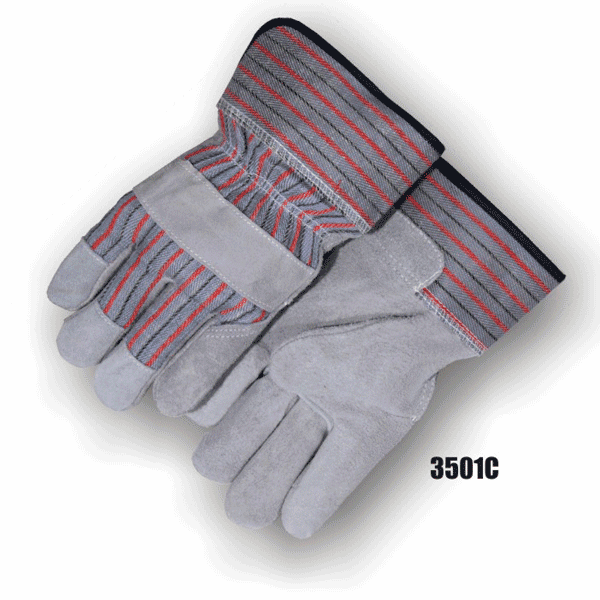 Majestic 3501C Split Cowhide Palm, Knuckle Strap, Wing Thumb, Polyethylene Safety Cuff