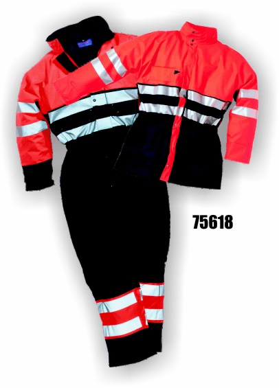 Majestic Gloves, 5618, Flexothane Coverall, Lined, Navy/Orange, 3m Reflective Striping