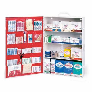 Medique 734M1 4 Shelf Industrial First Aid Cabinet Filled