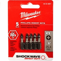 Milwaukee Shockwave 5pc Phillips #1 Insert Bit