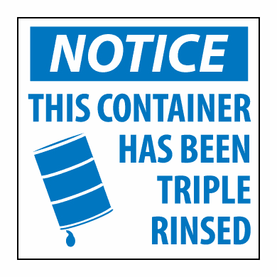 "National Marker HW23 ""NOTICE THIS CONTAINER HAS BEEN TRIPLE RINSED"""