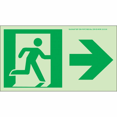 NMC 50F-1SN-R Directional Sign Right Glow Bright Polyester