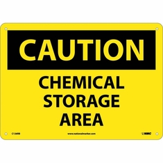 "NMC C-126P ""CAUTION Chemical Storage Area"" PS Vinyl 10"" X 7"" Label"