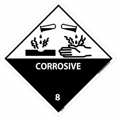 NMC, DOT Shipping Labels, Corrosive, 8 Label,  Graphic, 4 X 4, Pressure  Sensitive Vinyl, 25/PK