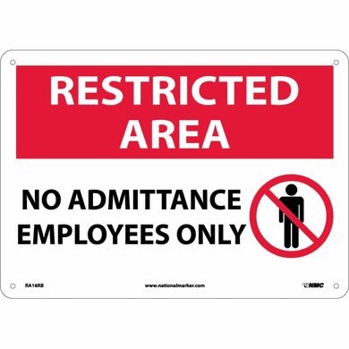 NMC RA-16-RB Restricted Area Sign, 10 X 14 Ridged Plastic With Graphics
