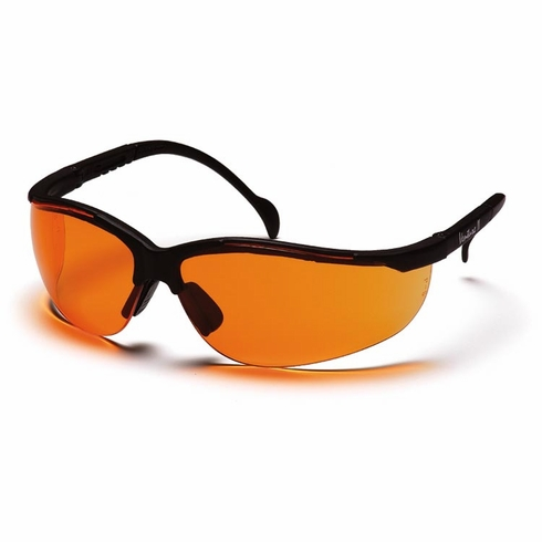 Pyramex SB1840S Venture II, Safety Glasses, Orange Lens, Black Frames