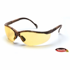 Pyramex SH1830S Venture II, Safety Glasses, Realtree Hardwood Frame, Amber Lens, Lightweight, Comfortable, Camo, Tinted