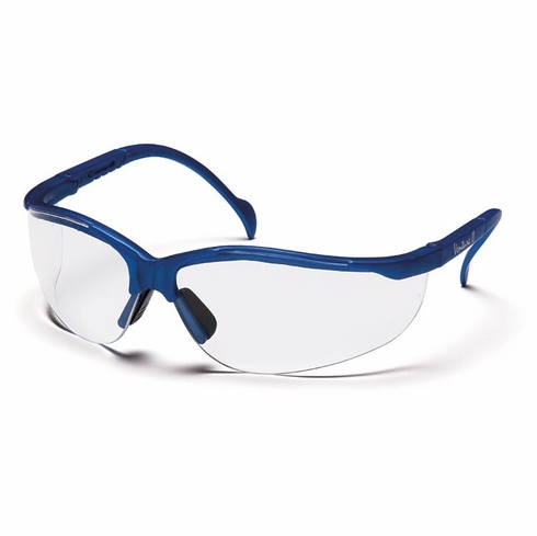 Pyramex, SMB1810S Venture II, Safety Glasses, Metallic Blue Frame, Clear Lens, The Venture II is fully adjustable to fit most head sizes. Its great, lightweight fit makes it comfortable for wear all day long.