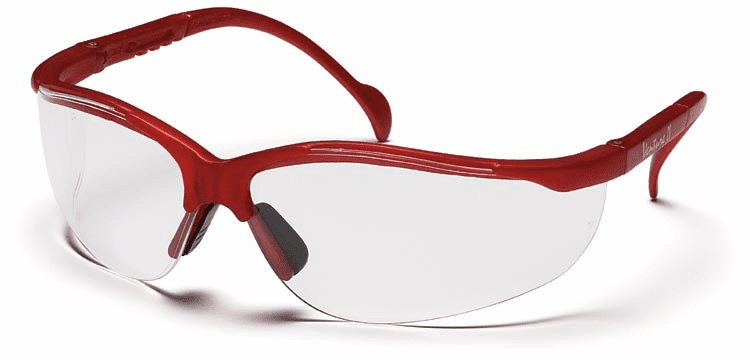Pyramex  SMM1810S Venture II, Safety Glasses, Maroon Frame, Clear Lens, The Venture II is fully adjustable to fit most head sizes. Its great, lightweight fit makes it comfortable for wear all day long.