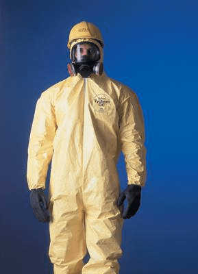 QC Chemical Protection Coveralls With Bound Seams, Front Zipper Closure