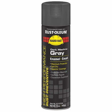 Rust-Oleum Brands V2187838 15 Oz Dark Machinery Gray Hard Hat Enamel Spray Paint