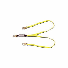 Shock Absorbing Lanyards - dual leg web pack-style, 100% tie-off