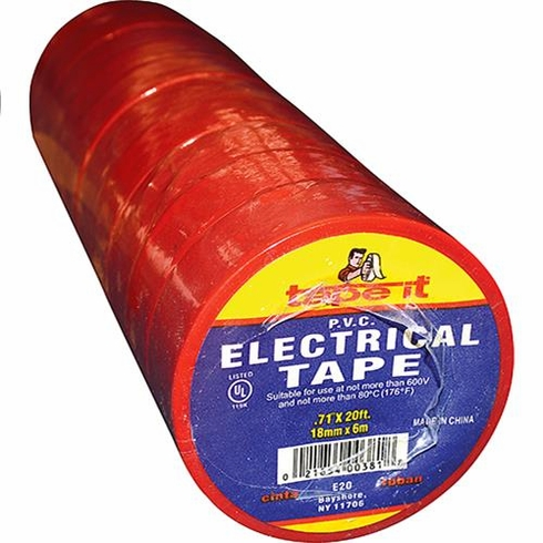 "Tape-It E20 Red Electrical Tape .71""X20' X 10 Rolls"