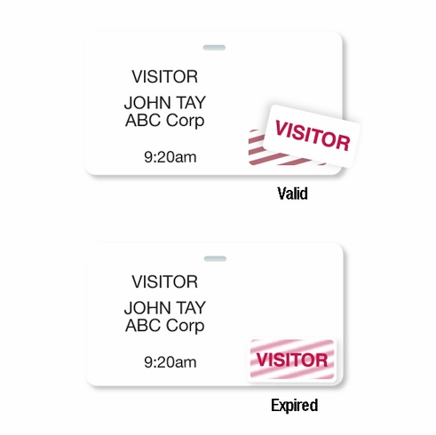"""Thermal Printable Clip-on Badge, 2.125"""" X 3.8125""""w/ Expiring TIMEtoken Indicator - Half Day Or One Day"""