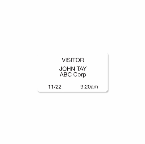 "Thermal-printable White, Non-expiring Printable Adhesive Badge,2 1/8"" x 3 13/16"""