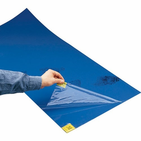 TSMFG CRP0430-1830 CLEANtack™ Step One™ Cleanroom Adhesive Mats, 18x30, 30-Sheets/Mat, Cleanroom Bagged, White, Blue & Grey