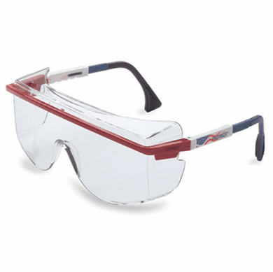 Uvex, Astrospec OTG 3001 Safety Eyewear, Red/White/Blue Frame, Clear Ultra-Dura Hardcoat Lens, S2530
