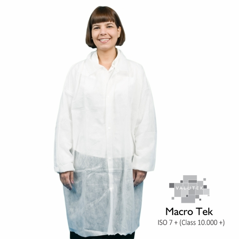 Valutek VTLBCT Spunbond Polypropylene Cleanroom Lab Coats, No Pockets