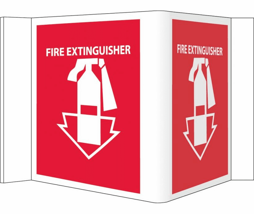 VISI VS1R SIGN, FIRE EXTINGUISHER, RED, 5 3/4X8 3/4, .125 ACRYLIC