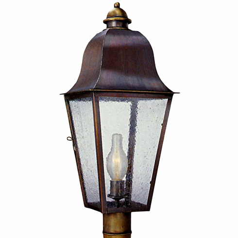 Keene electric copper lantern garden post light head keene post light outdoor copper lantern size small dimensions 20 h x 8 w x 8 d socket 1 60w medium finish antique copper glass seeded aloadofball Image collections