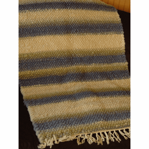 Clun Forest Wool Rug - White w/Blue & Green Stripes