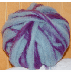 Clun Forest Wool Roving - Dark Purple & Light Blue Stripe