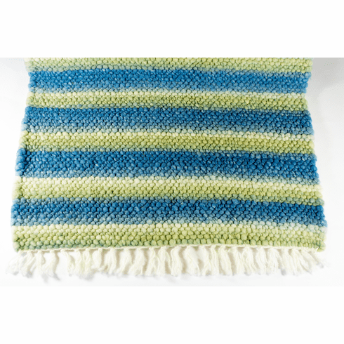 Clun Forest Wool Rug - Blue, Green, White Stripes